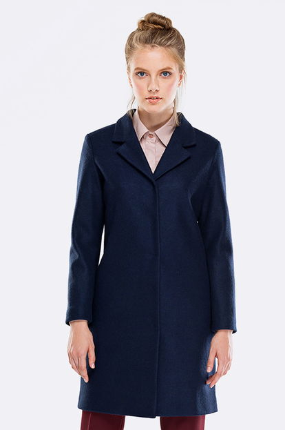 Above the knee straight blue coat