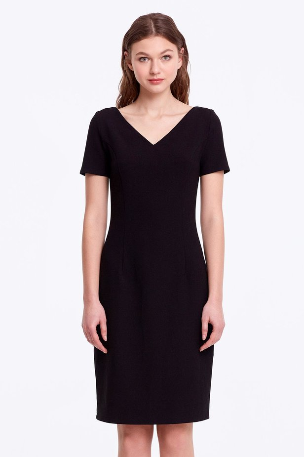 Column black dress with a V-shaped neckline photo 1 - MustHave online store