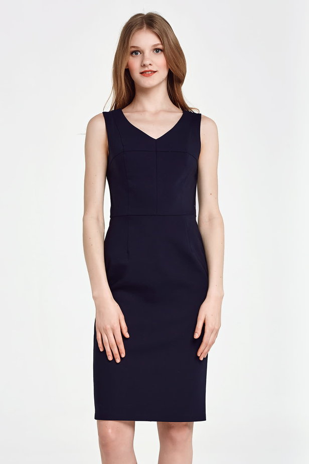 Below the knee column dark blue dress photo 1 - MustHave online store