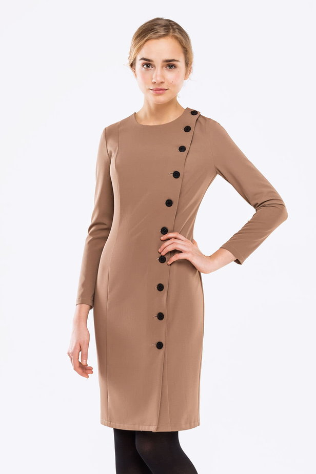 Beige dress with buttons photo 1 - MustHave online store