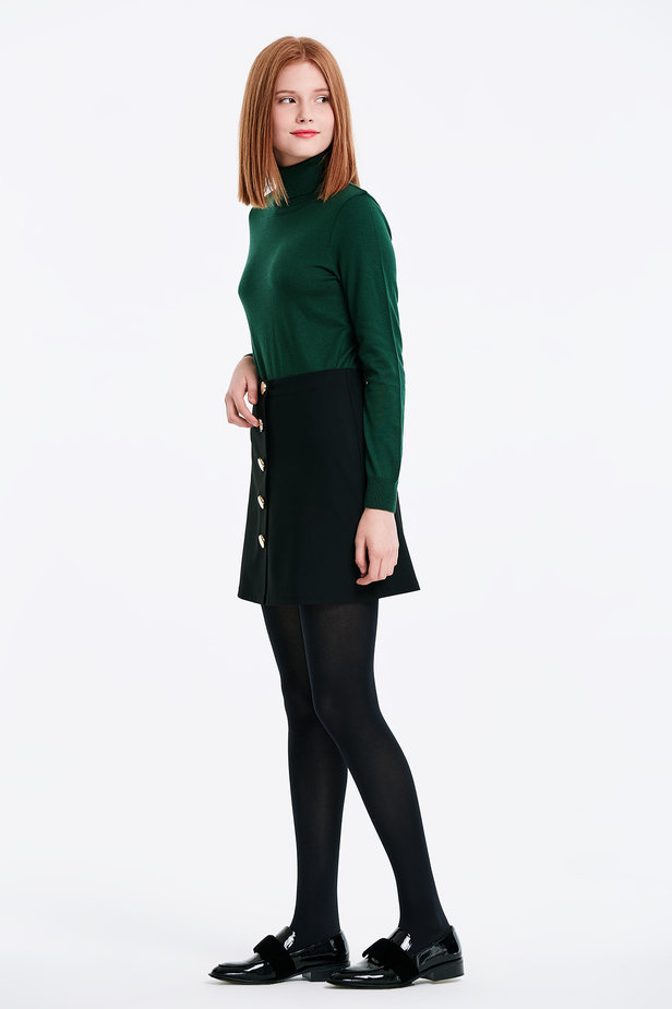 Mini black skirt with golden buttons photo 3 - MustHave online store