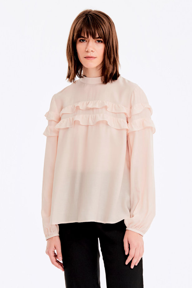 Beige blouse with ruffles photo 1 - MustHave online store