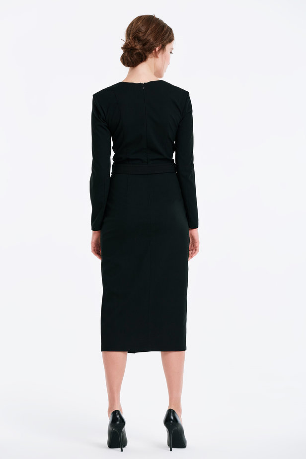 Wrap column black dress photo 5 - MustHave online store