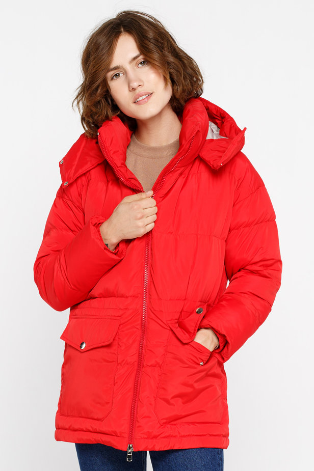 Red down jacket with a hood and pockets photo 1 - MustHave online store