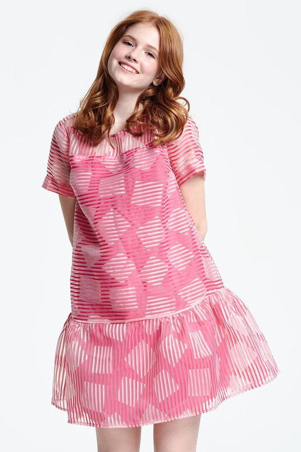 Above the knee striped pink dress with a flared skirt, rhombs print photo 1 - MustHave online store