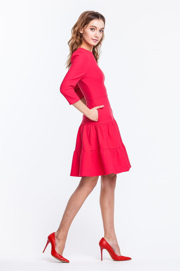 Pink dress with triple skirt photo 3 - MustHave online store