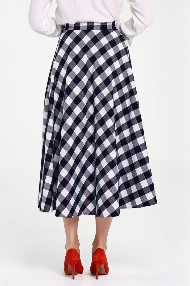 Blue and white checked flared skirt below the knee photo 4 - MustHave online store