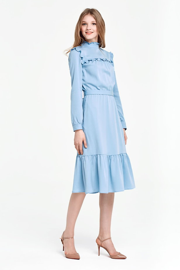 Blue dress with a ruffle yoke photo 2 - MustHave online store