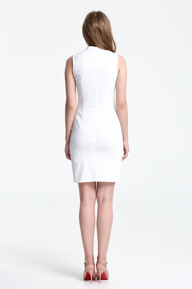 Above the knee white dress with a slit photo 3 - MustHave online store
