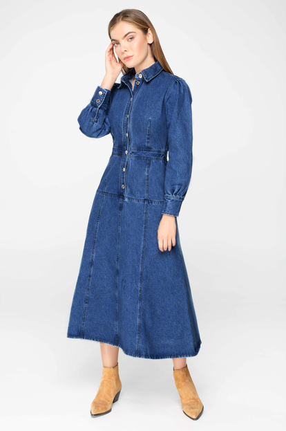 Blue denim buttoned midi dress with long sleeves