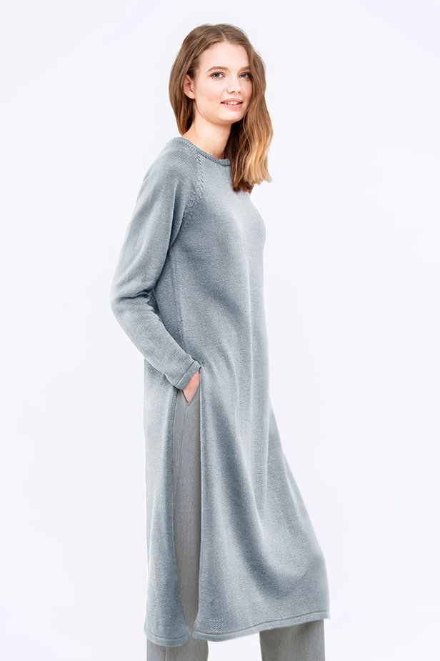 Light-grey tunic with slits photo 3 - MustHave online store