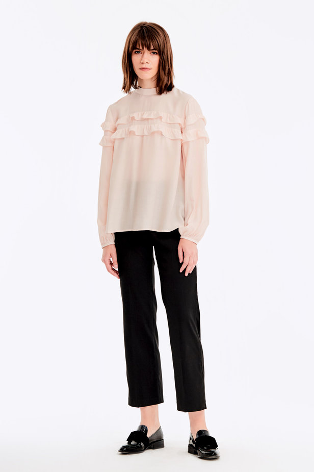 Beige blouse with ruffles photo 3 - MustHave online store