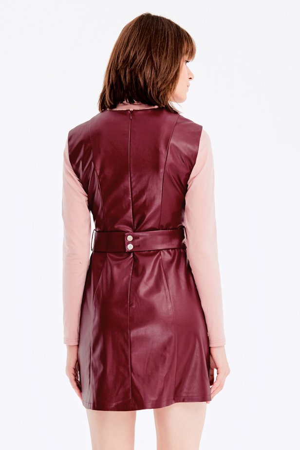 Below-knee burgundy leather dress photo 5 - MustHave online store