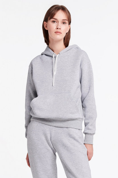 Grey sweatshirt with a hoodie