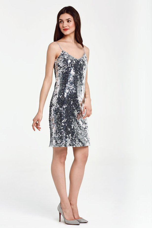 Silver sequin dress with straps photo 4 - MustHave online store
