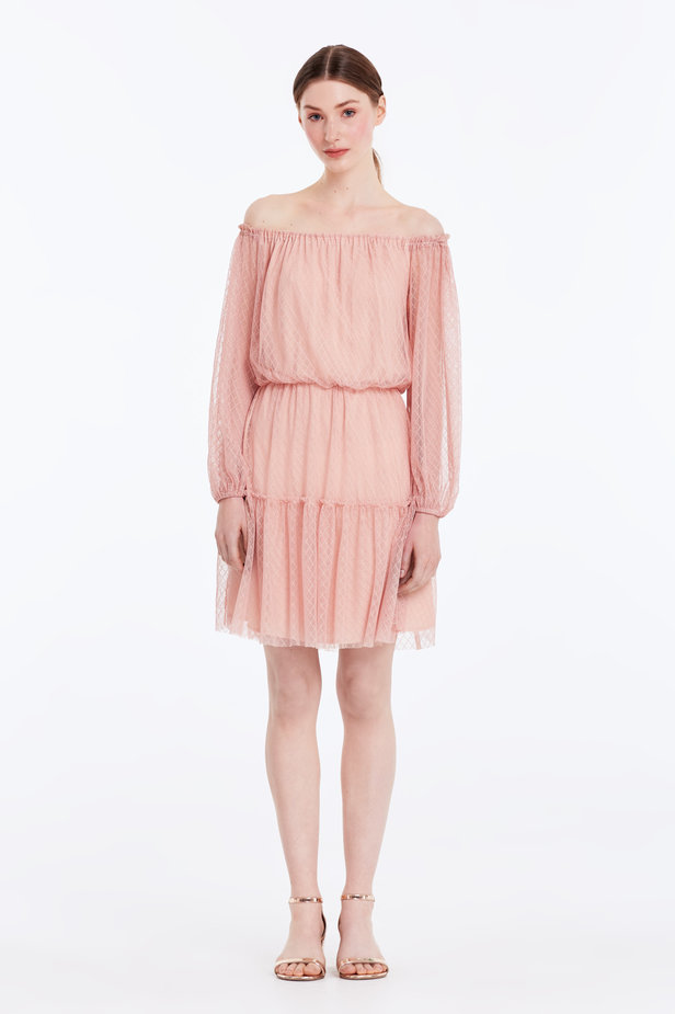 Off-shoulder powder pink lace dress photo 3 - MustHave online store