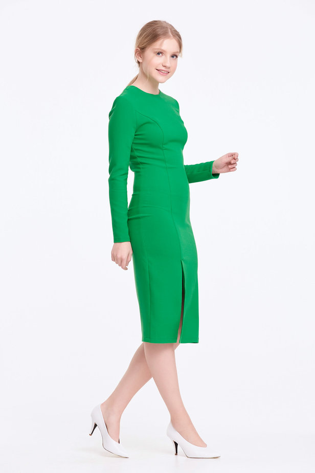 Column green dress with a slit photo 6 - MustHave online store