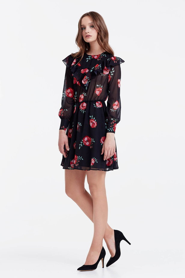 Mini black dress with a floral print and ruffles photo 2 - MustHave online store