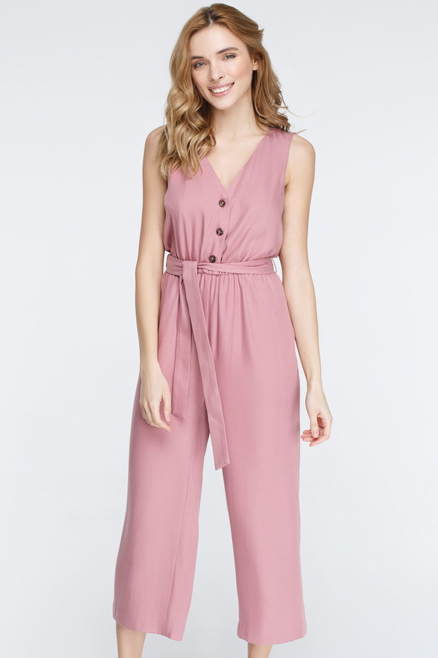 Pink jumpsuit with buttons photo 3 - MustHave online store