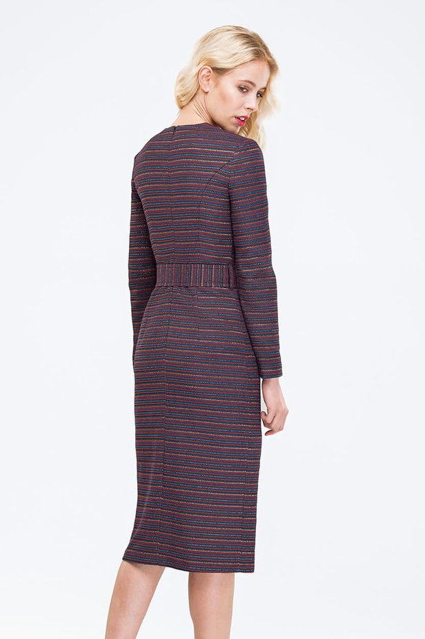 Striped column dress with lurex and slit photo 3 - MustHave online store