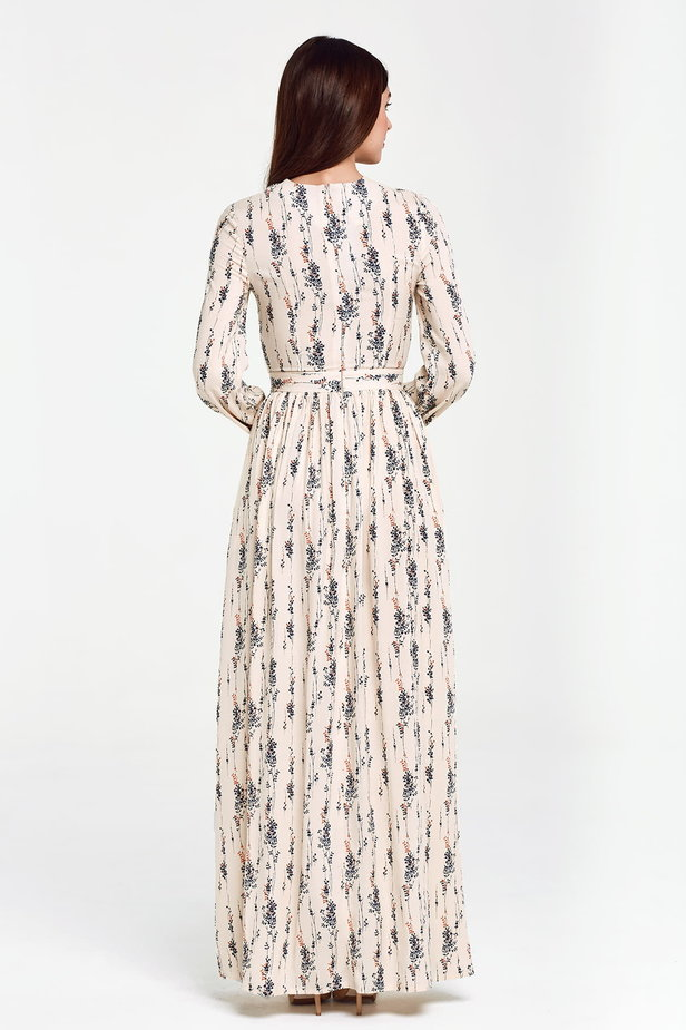 Maxi beige dress, floral print photo 4 - MustHave online store
