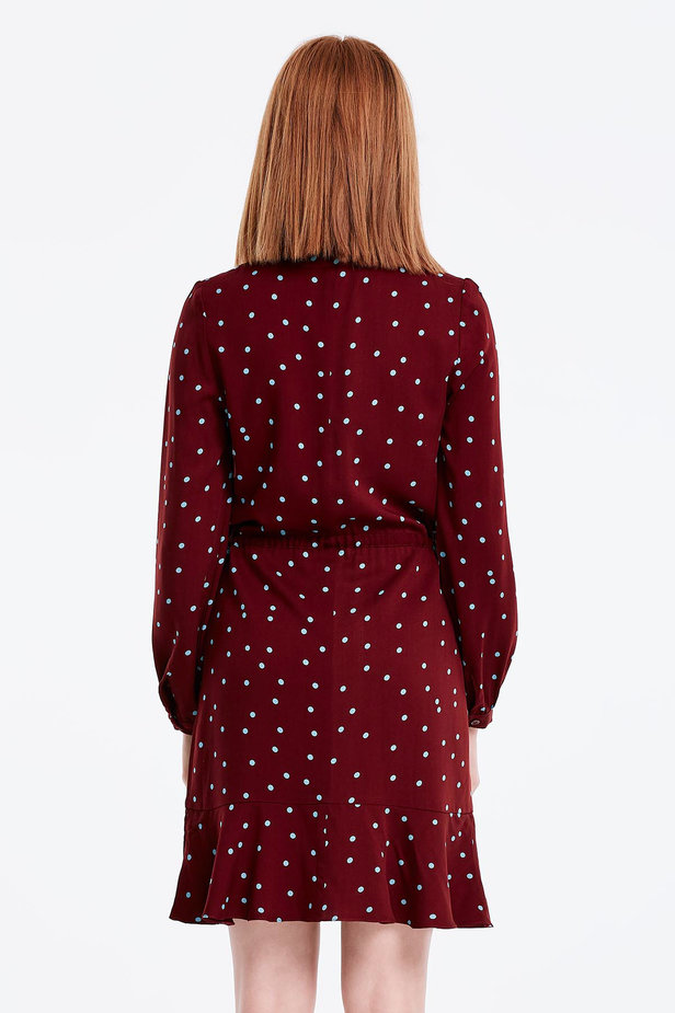 Wine dress with a blue polka dot print and a keyhole photo 2 - MustHave online store