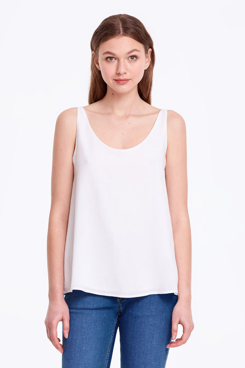 White top with a scoop neckline