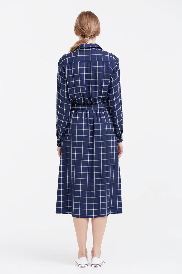 Midi checked blue dress with a belt photo 3 - MustHave online store