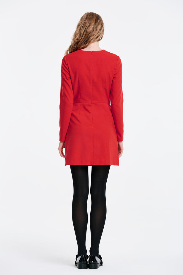 Wrap red dress with a pocket photo 6 - MustHave online store