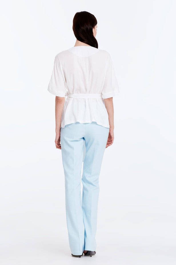 Wrap white shirt with a belt photo 6 - MustHave online store