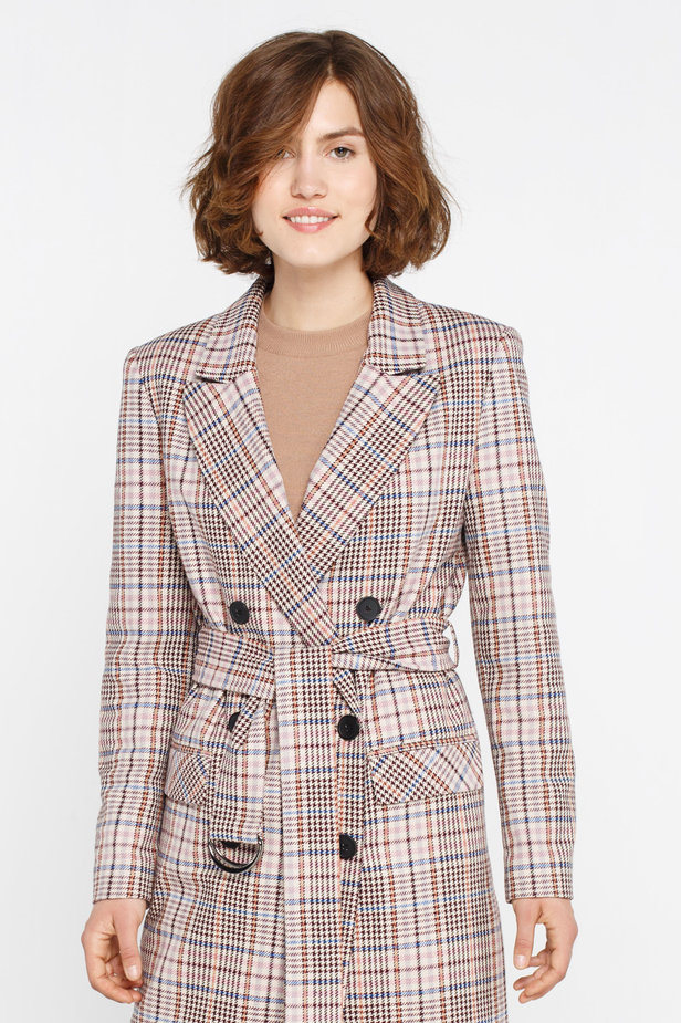Beige plaid suit fabric trenchcoat photo 3 - MustHave online store