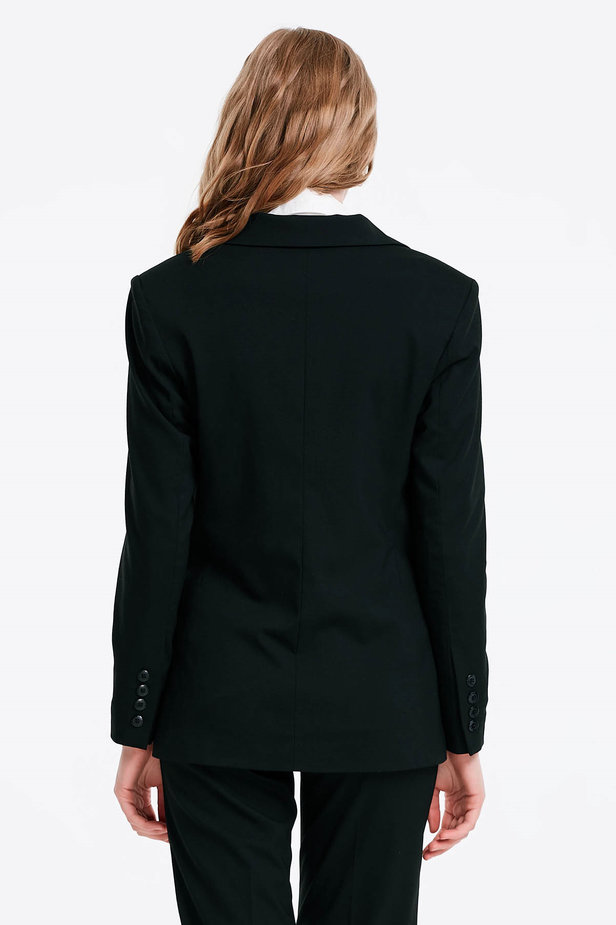 Double-breasted black jacket with pockets photo 2 - MustHave online store
