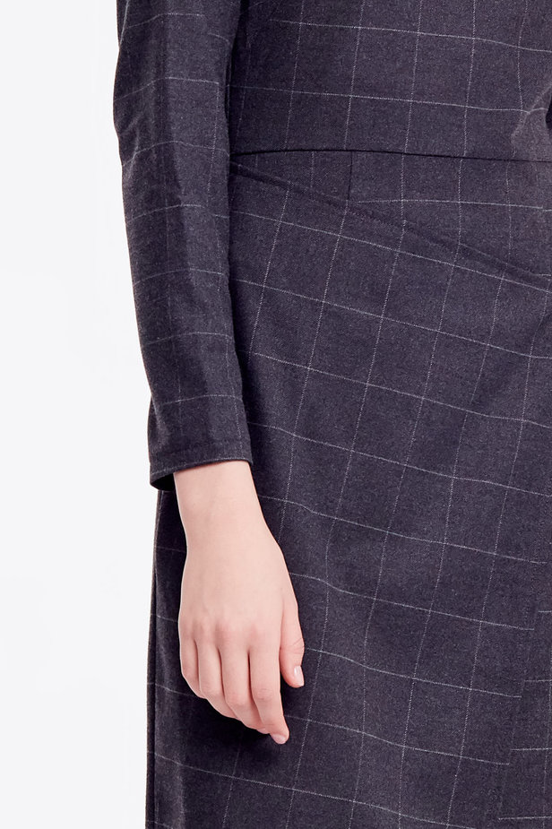 Wrap grey checkered midi dress photo 2 - MustHave online store