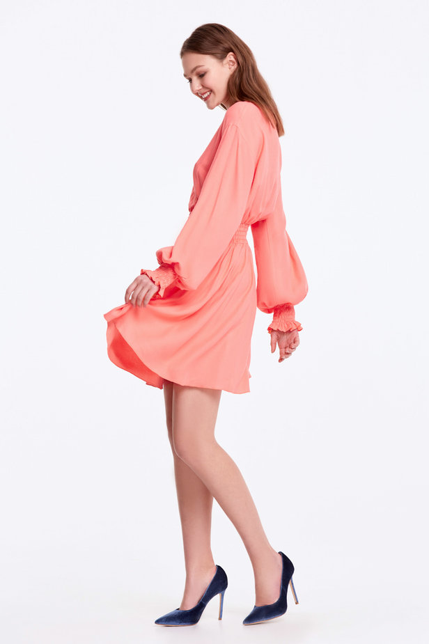 Coral dress with an elastic waistband photo 2 - MustHave online store