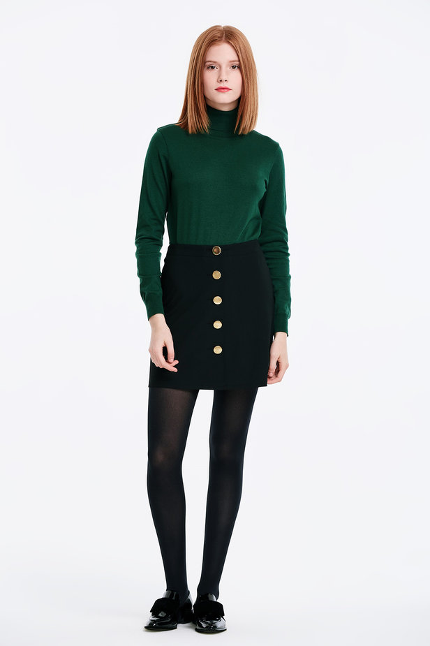 Mini black skirt with golden buttons photo 5 - MustHave online store