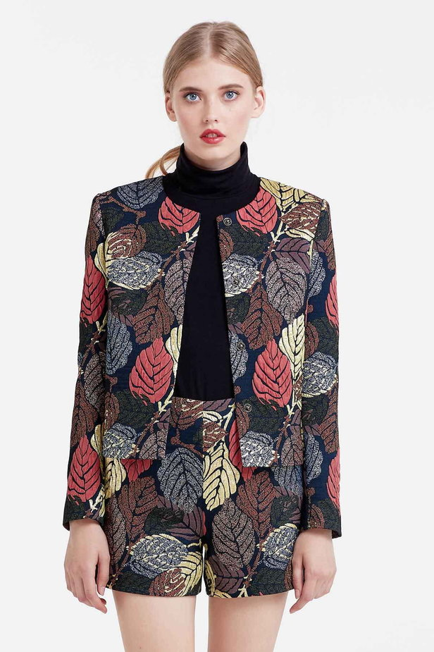 Short jacket with golden leaves photo 1 - MustHave online store