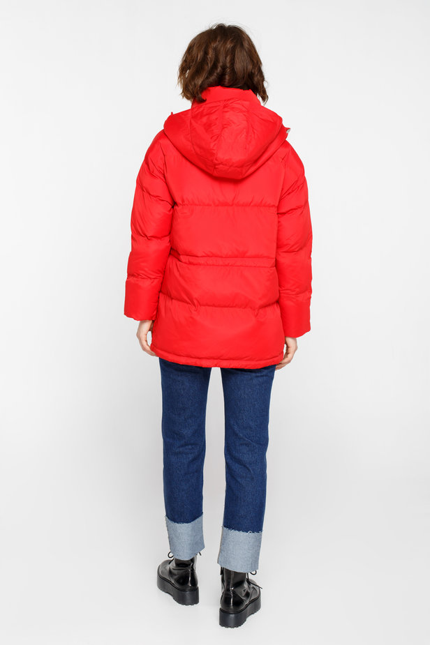 Red down jacket with a hood and pockets photo 6 - MustHave online store