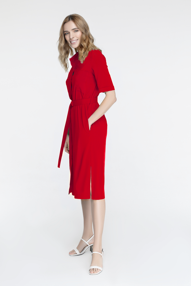 Red button-down dress with chest pockets photo 2 - MustHave online store