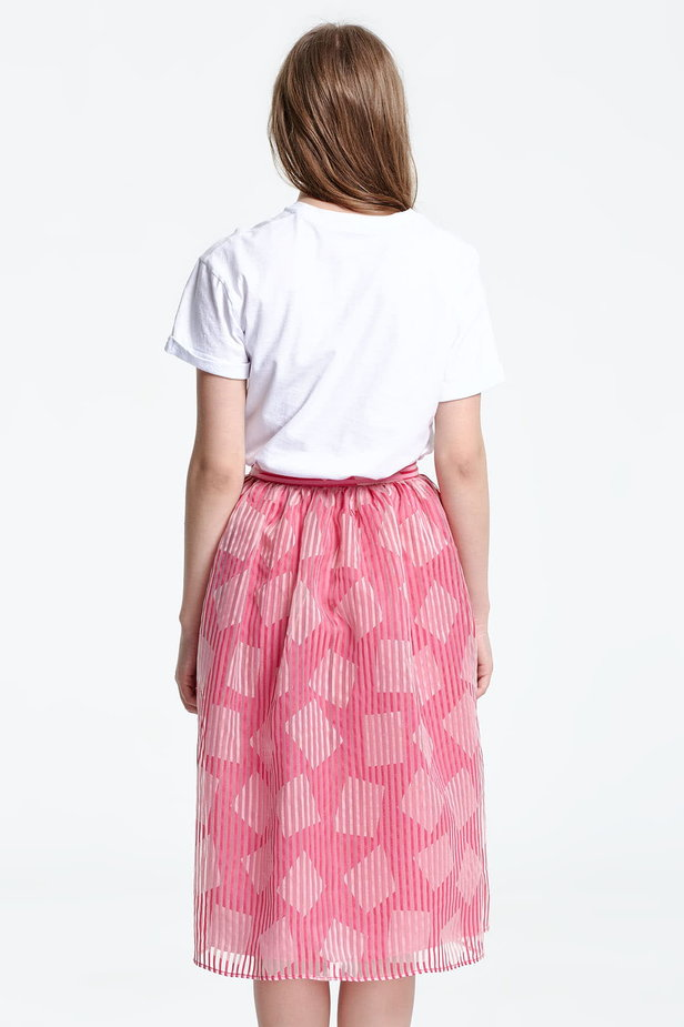 Below the knee striped pink skirt, rhombs print photo 4 - MustHave online store