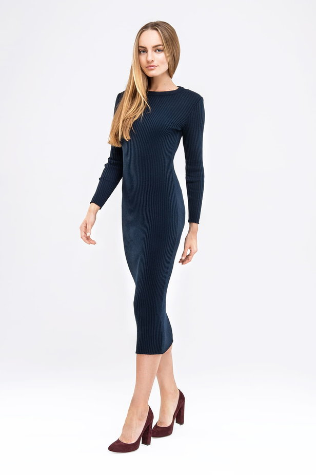 Blue knit sheath midi dress photo 4 - MustHave online store