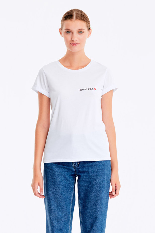 White T-shirt with a print «Слухай своє серце» photo 1 - MustHave online store