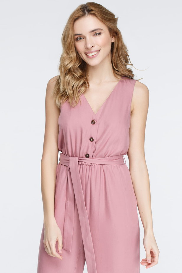 Pink jumpsuit with buttons photo 4 - MustHave online store