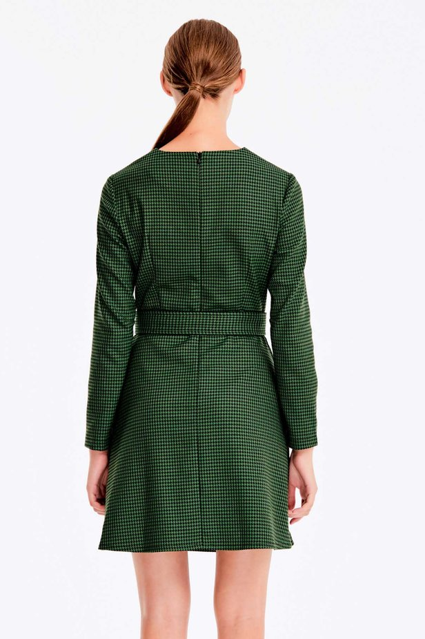 Green dress with a houndstooth print photo 5 - MustHave online store