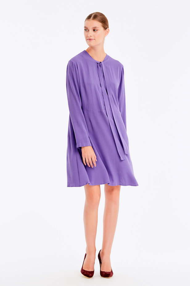 Violet dress with ties photo 3 - MustHave online store