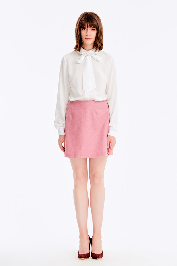 Mini skirt with pink herringbone print photo 2 - MustHave online store