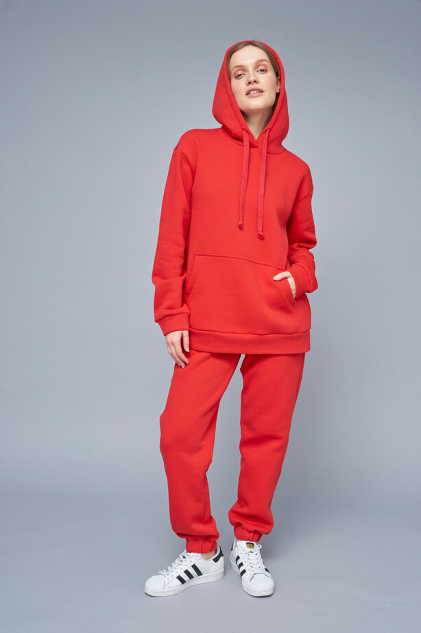 Fleece red-colored  joggers