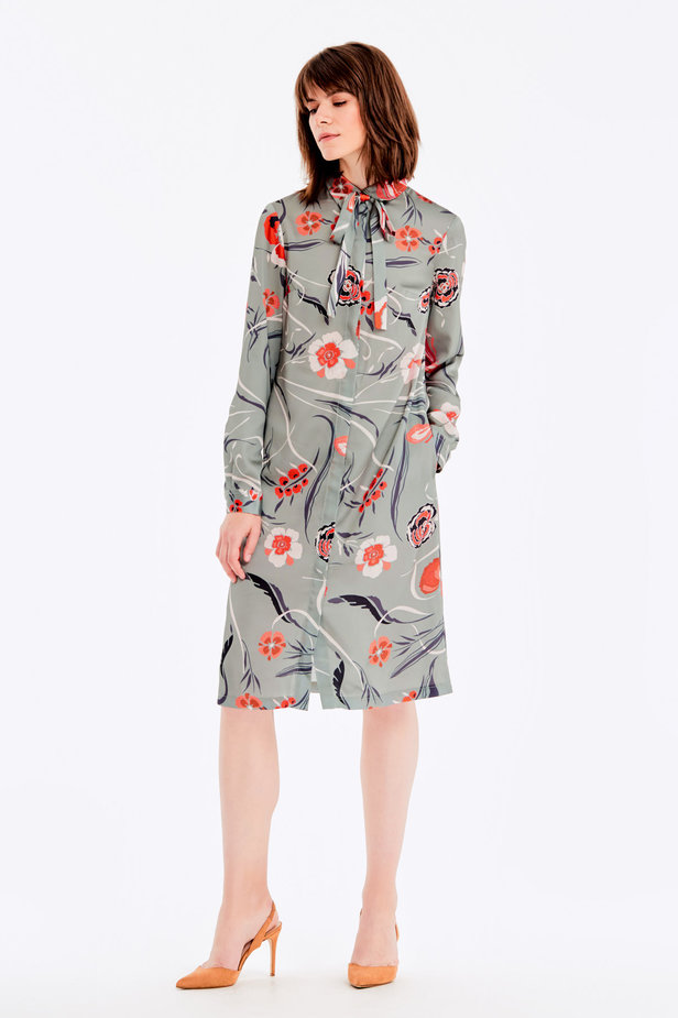 Grey dress with a floral print and a bow photo 2 - MustHave online store