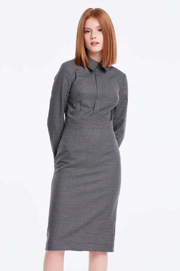 Grey shirt dress with a houndstooth print photo 1 - MustHave online store