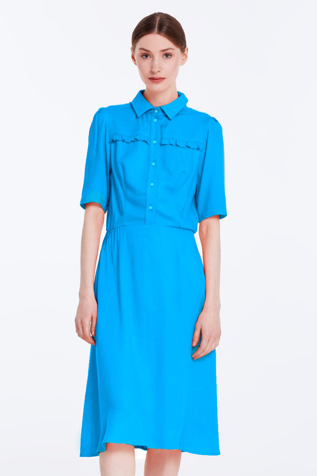 Blue dress with a shirt top photo 1 - MustHave online store