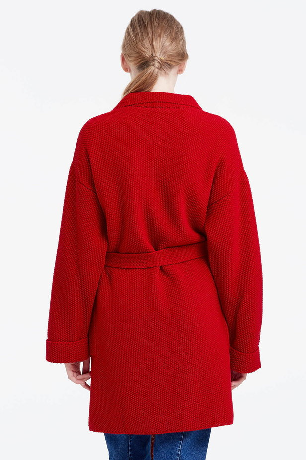 Red cardigan with a belt photo 3 - MustHave online store